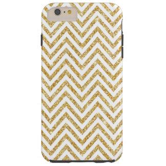 Gold Glitter Girly Chevrons iPhone 6 Plus Case