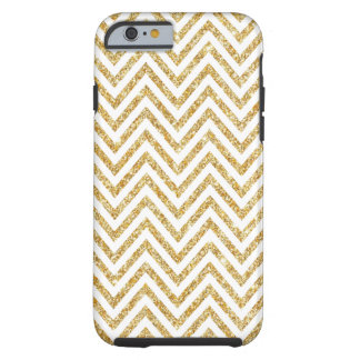 Gold Glitter Girly Chevrons Tough iPhone 6 Case