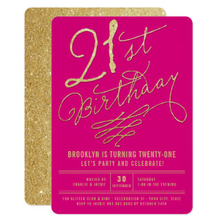 Gold Glitter Glam Adult 21st Birthday Party Invite