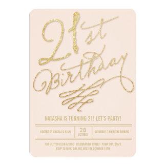 Gold Glitter Glam Blush 21st Birthday Party Invite