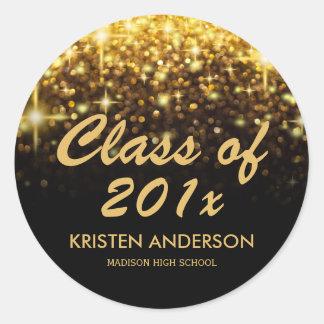 Gold Glitter Glam Sparkle Class of 2017 Graduation Round Sticker