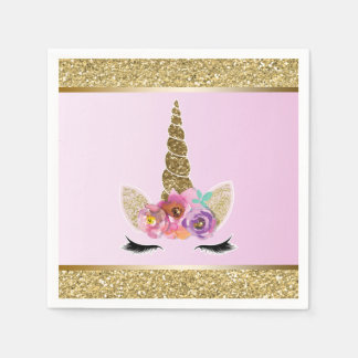Gold Glitter Glam Unicorn Pink Birthday Party Disposable Napkins