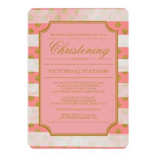 Gold Glitter Glamour Christening Invites