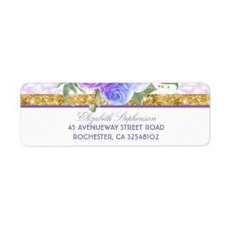 Gold Glitter Glamour Vintage Floral Blue Purple Return Address Label