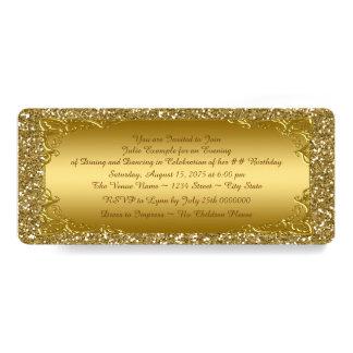 Gold Glitter Golden Ticket Party Card