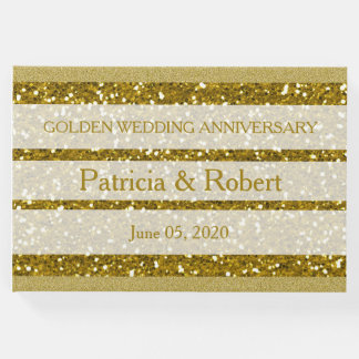 Gold Glitter Golden Wedding Anniversary Guest Book