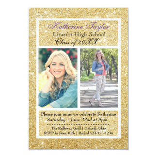 Gold Glitter Graduation Announcement 2 Photos 3x5