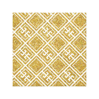 Gold Glitter Greek Pattern Canvas Print