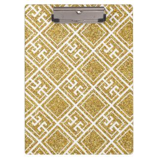 Gold Glitter Greek Pattern Clipboard