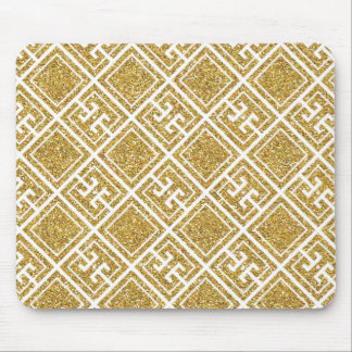 Gold Glitter Greek Pattern Mousepad