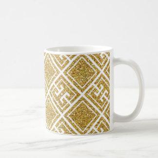 Gold Glitter Greek Pattern Mug