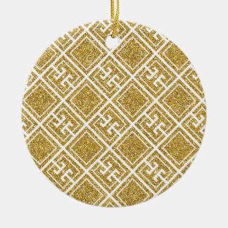Gold Glitter Greek Pattern Ornament