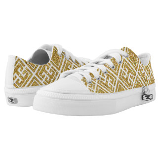 Gold Glitter Greek Pattern Shoes