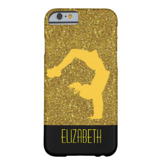 Gold Glitter Gymnastics Monogram Barely There iPhone 6 Case