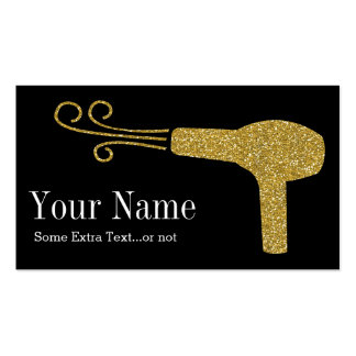Gold Glitter Hairdresser Salon Black Double-Sided Standard Business Cards (Pack Of 100)