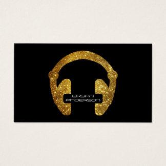 Gold Glitter Headphone DJ Business Card