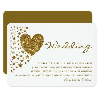 Gold Glitter Heart and Stars Wedding Card