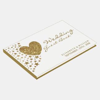Gold Glitter Heart and Stars Wedding Guest Book