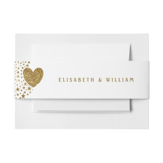 Gold Glitter Heart and Stars Wedding Invitation Belly Band