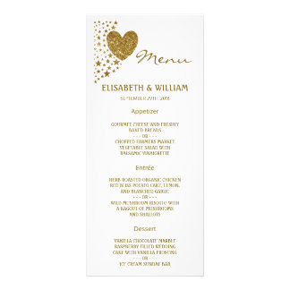 Gold Glitter Heart and Stars Wedding Menu Full Colour Rack Card