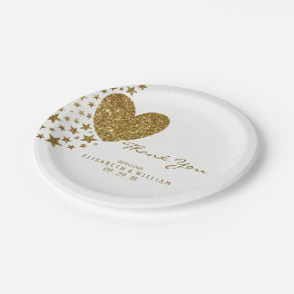 Gold Glitter Heart and Stars Wedding Paper Plate