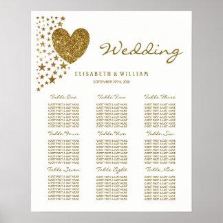 Gold Glitter Heart and Stars Wedding Poster