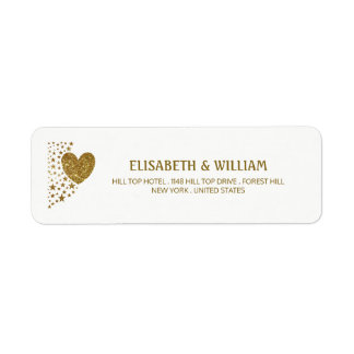 Gold Glitter Heart and Stars Wedding Return Address Label