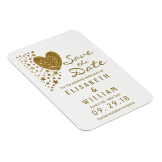 Gold Glitter Heart and Stars Wedding Save The Date Magnet