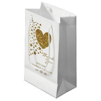 Gold Glitter Heart and Stars Wedding Small Gift Bag
