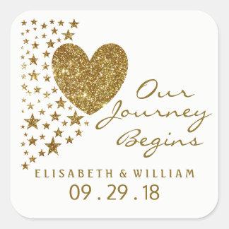 Gold Glitter Heart and Stars Wedding Square Sticker