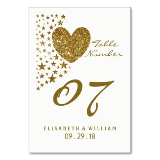 Gold Glitter Heart and Stars Wedding Table No. Card