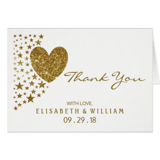 Gold Glitter Heart and Stars Wedding Thank You Card