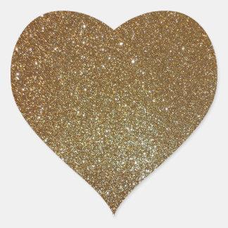 Gold Glitter Heart Sticker