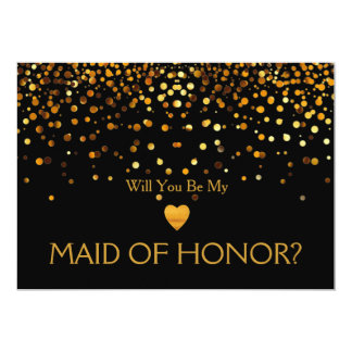 Gold Glitter Heart Will you be my MAID OF HONOR 13 Cm X 18 Cm Invitation Card