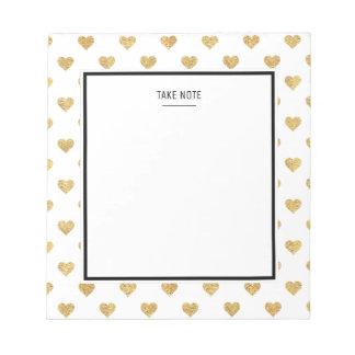 Gold glitter hearts notepad