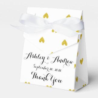 Gold Glitter Hearts Pattern Favour Box