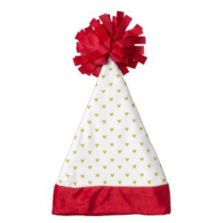 Gold Glitter Hearts Pattern Santa Hat