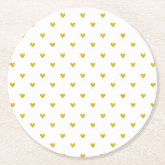 Gold Glitter Hearts Pattern Round Paper Coaster