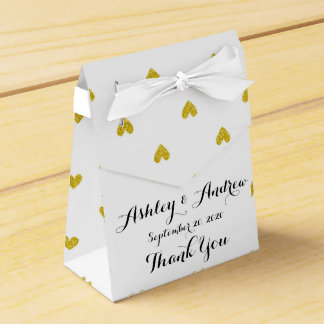 Gold Glitter Hearts Pattern Wedding Favour Boxes