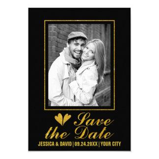 Gold glitter hearts wedding save the Date photo 13 Cm X 18 Cm Invitation Card