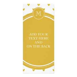 Gold Glitter Hearts with Monogram Full Colour Rack Card