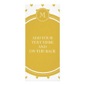 Gold Glitter Hearts with Monogram Custom Rack Card