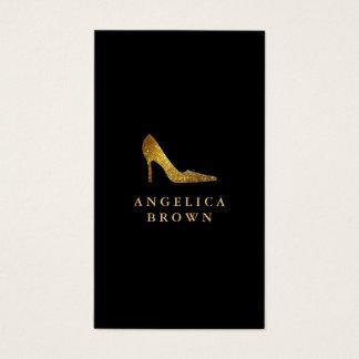 Gold Glitter High Heel Shoe Business Card