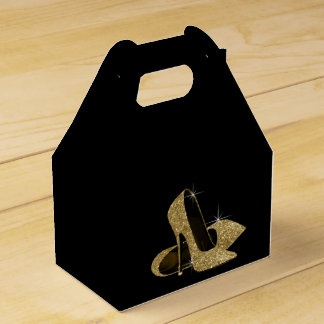 Gold Glitter High Heel Shoe Favour Box