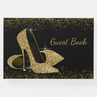 Gold Glitter High Heel Shoe Guest Book