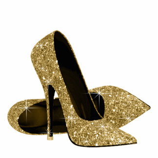 Gold Glitter High Heel Shoes Standing Photo Sculpture