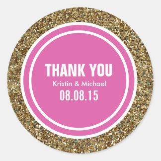 Gold Glitter Hot Pink Custom Thank You Label Round Sticker