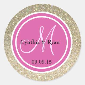 Gold Glitter & Hot Pink Wedding Monogram Round Sticker