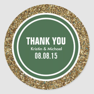 Gold Glitter Hunter Green Custom Thank You Label