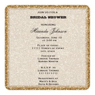Gold Glitter 5.25x5.25 Square Paper Invitation Card